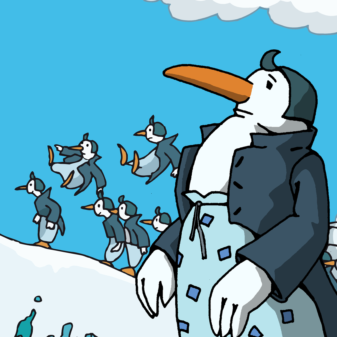 Illustration mit Pinguinen